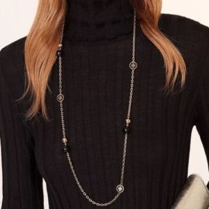 New Tory Burch Black Lacquered Logo Long Necklace
